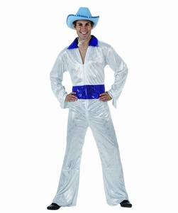 Deguisement costume Disco homme brillant blanc