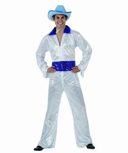 Deguisement costume Disco homme brillant blanc