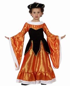 Deguisement costume Dame médiévale orange 10-12 ans