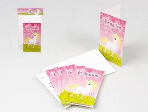 Cartes d'invitation Licorne x 6