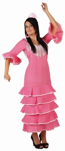 Deguisement costume Danseuse flamenco rose pois blancs