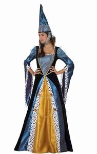 Deguisement costume Dame médiévale bleu et or