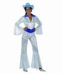 Deguisement costume Disco femme brillant blanc