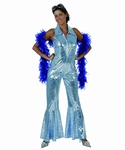 Deguisement costume Disco femme bleu brillant