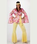 Deguisement costume Hippie femme rose et jaune