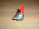 Casque chevalier plume rouge haute