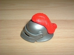 Casque chevalier plume rouge