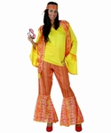 Deguisement costume Hippie femme jaune orange