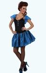 Deguisement costume Femme sixties bleu