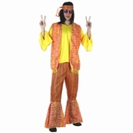 Deguisement costume Hippie homme jaune orange