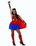 Deguisement costume Super Girl bleu rouge héroïne