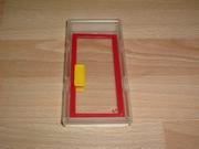 Porte  vitrée rouge et jaune