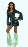 Deguisement costume Disco femme vert