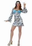 Deguisement costume Hippie femme robe bleue  XL
