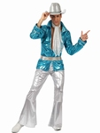 Deguisement costume Disco homme brillant bleu XL