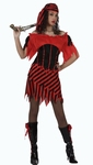 Deguisement costume Pirate femme rouge noir