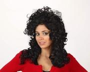 Perruque brune cheveux longs frisés