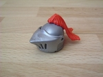 Casque chevalier plume rouge neuf