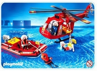 Playmobil Sauveteurs hélicoptère bateau pneumatique 4428