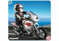Playmobil Pilote Moto argentée 5117