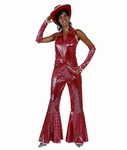 Deguisement Disco femme rouge SUR PLACE UNIQUEMENT