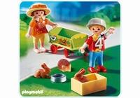 Playmobil Enfants avec chariot et petits animaux 4349