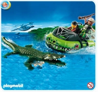Playmobil Braconniers et aéroglisseur avec alligator  4446
