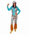 Deguisement costume Hippie femme bleu