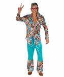 Deguisement costume Hippie homme bleu