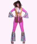 Deguisement costume Hippie femme rose