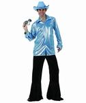 Deguisement costume Disco homme bleu