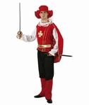 Deguisement costume Mousquetaire rouge chapeau souple