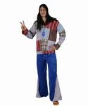 Deguisement costume Hippie homme rayé bleu